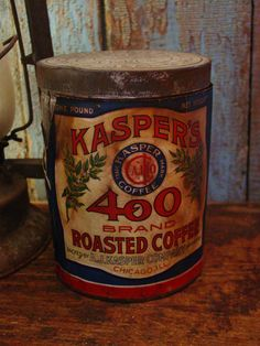 Early Advertising Antique Kasper's Coffee Tin With Paper Label Old General Store.. $35.00, via Etsy.