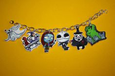 The Nightmare Before Christmas Charm Bracelet- my sis will die! Wire Crafts, Jewelry Crafts, Indie Brands, Nightmare Before Christmas, Bracelet Making, Retro Vintage, Charmed, Halloween, Drawings