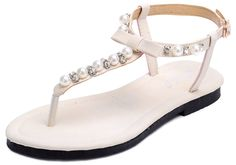Odema Womens Gladiator Flat Sandals Wedding Pearls Rhinestone Bowknot Shoes. Odema own its trademark. Adjustable ankle strap with buckle closure. Bowknot, Beaded Pearls Rhinestone design,Stylish and Comfortable. Best Match Tips:1.Short Ivory lace dress 2.Maxi skirts 3.Other light weight material gowns. Size: True to size. Choose half size larger for wide feet.