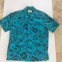 Vintage Ui Maikai Hawaiian Shirt Medium Teal 100% Cotton Retro Hawaii Islands #UiMaikai #Hawaiian