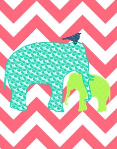 Chevron Elephants Wall Art Poster, Printable and Frameable, Mother and Baby Modern Print, Blue and G Elephant Poster, Elephant Wall Art, Elephant Love, Elephant Print, Elephant Crafts, Mama Elephant, Nursery Prints, Nursery Art, Stuffed Animal Patterns