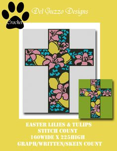 Easter Lilies Cross Crochet Graph by DelGuzzoDesignStudio on Etsy