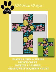 Easter Lilies Cross Crochet Graph by DelGuzzoDesignStudio on Etsy