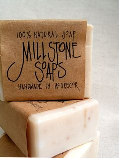 I absolutely love this packaging. Love the font. Handmade Soap Packaging, Handmade Soaps, Soap Labels, Soap Display, Ideias Diy, Homemade Soap Recipes, Lotion Bars, Goat Milk Soap, Cold Process Soap