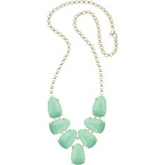 Kendra Scott Harlie Statement Necklace ($135) ❤ liked on Polyvore featuring jewelry, necklaces, mint magne, mint green jewelry, 14k necklace, mint green necklace, mint statement necklace y 14 karat gold jewelry
