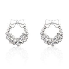 This item only ships to the US and Canada. White Gold Rhodium Bonded Holiday Wreath Earrings with Round Cut Clear Crystals in Silvertone. Spread holiday cheer with these holiday wreath earrings. Fashi