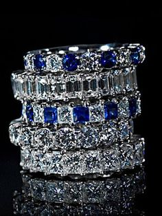 Diamonds Sapphires Stackable Rings♥