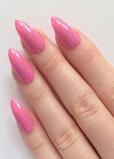 Pink pointy almond Barbie nails!