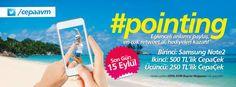 15 Eylül'e kadar, #CEPA'yı Twitter'dan takip et,  Yaz boyunca hayatın eğlenceli karelerini işaret ederek fotoğrafla, #pointing hashtagi ile paylaş, En çok retweeti al ve hediyelere ulaş!  #cepaavm #ankara #twitter #kampanya #publicasid #agency