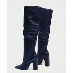 SATEEN HIGH HEEL BOOTS - NEW IN | ZARA United States ($105) ❤ liked on Polyvore featuring shoes, boots, high heel shoes, high heel boots and high heeled footwear