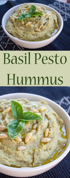 Basil Pesto Hummus (vegan, gluten free) - This easy healthy recipe takes minutes to make, is cheaper than store bought, and you control the ingredients!