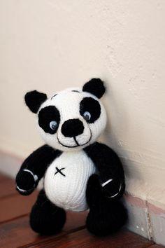 Small Panda Bear  knitting pattern knitted round by deniza17
