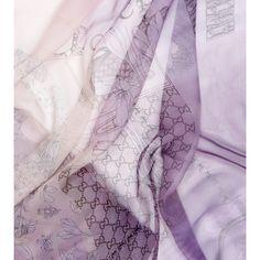 Gucci Purple/Cream Silk Scarf ($545) ❤ liked on Polyvore