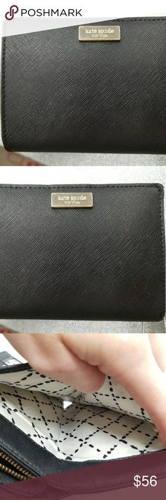 Kate Spade black wallet I'm good condition. Photos show wear in hardware on front and I'm change purse section. Not too much external wear. Gold hardware kate spade Accessories