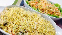 Salada com macarrão parafuso e Salada Tentação