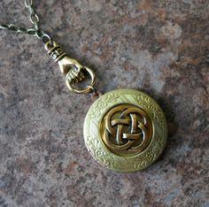 Brass Celtic Knot  Enchanted Irish Locket. $ 26.00, via Etsy.
