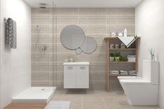 Propuesta para baño con combinación de tres porcelánicos y mobiliario en blanco. Alcove, Bathtub, Bathroom, Imagines, Color, Flooring, Proposal, Interiors, Kitchens
