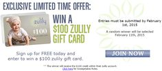 Enter for a chance to win a $100 #zulily gift card! ~ on CouponCrazyFreebieFanatic.com