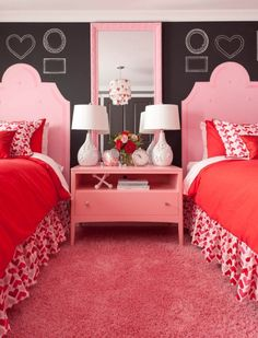 Jennifer Brouwer Design: Fun Valentines Day inspired girls' room! Twin beds with pink tufted headboards paired ...