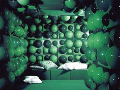 Verner Panton green interior. Over the top.