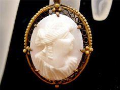 Antique Cameo Pendant 10K Gold Carved Angel Skin Coral Signed WRC Victorian   eBay