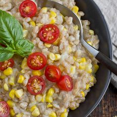 Really want to try farro at home.  I would have to omit corn, blogger recommends peas or any in season veg. Farro Risotto with Corn and Tomatoes Recipes from The Kitchn