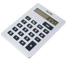 Duży srebrny kalkulator dla księgowej bądź ucznia.