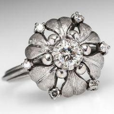 Retro Vintage Diamond Engagement Cocktail Ring w/ Floral Motif 18K White Gold