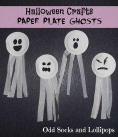 Crafts for Toddlers - Odd Socks and Lollipops Halloween Crafts Paper Plate Ghosts - thought we would make an easy start to our Halloween crafts.Halloween Crafts Paper Plate Ghosts - thought we would make an easy start to our Halloween crafts. Halloween Tags, Halloween Designs, Halloween Art Projects, Halloween Themes, Halloween Decorations For Kids, Halloween Party, Halloween Pumpkins, Paper Halloween, Halloween Witches