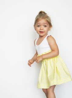 yellow gingham high waisted skirt from etsy
