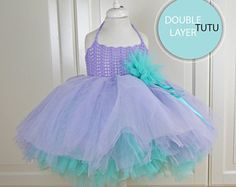 Double Layered Puffy Tutu Dress. Flower Girl Tulle Dress with Lace Stretch Crochet Bodice.
