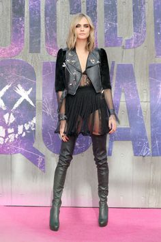 31 photos of Cara Delevingne's style moments from Suicide Squad's promo tour:
