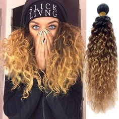 100g/Bundle Curly Hair Extensions 1b/33/27# Ombre Hair Weaving Real Human Hair #WIGISS #HairExtension