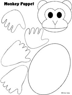Monkey Paper Puppet Template Letter M Crafts, Alphabet Crafts, Paper Bag Puppets, Hand Puppets, Daycare Crafts, Preschool Activities, Animal Crafts For Kids, Art For Kids, Monkey Template