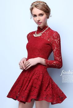 Morpheus Boutique  - Red Lace See Through Long Sleeve Sexy Flare Dress