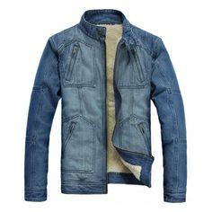 Blue Jeans Jacket Long Sleeve Vogue Slim Men Cotton and Blends Coat... ❤  liked on Polyvore 3ea7608b9e0