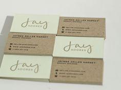 JayAdores business cards: chipboard + mint green