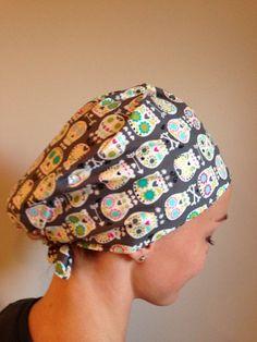 7788e98ab63 Sugar Skull Candy Skull Dia De Los Muertos • Traditional tie back scrub cap