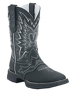 Durango® Rebel™ Ladies Black Distressed Shrunken Cowhide Square Toe Western Boots