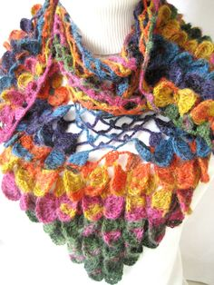 Mothers day gift / Multicolor Butterfly Shawl by YARNARTWORLD, $40.00