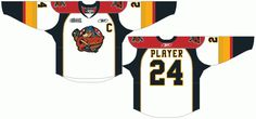 Erie Otters Home Uniform (2010) - A white uniform with red shoulders, and tri coloured sleeve detailing