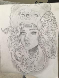 Woman in a Bear headdress portrait