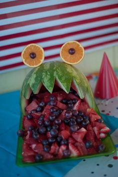 Monster Bash, Monsters, DIY, two years old, little boys birthday, fruit sculptures