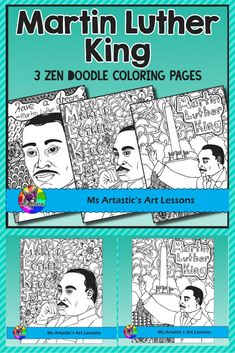 Enjoy Martin Luther King, zentangle coloring pages in your classroom that allow for educational, mindful coloring in your classroom. All coloring pages are hand drawn by Ms Artastic with love and care. Teaching Materials, Teaching Resources, Teaching Ideas, School Resources, High School Art, Middle School Art, School Art Projects, Projects For Kids, Elementary Art