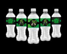 The Hulk Bottle Labels Party Printable Bottle Labels, Party Printables, Hulk, Water Bottle, Incredible Hulk