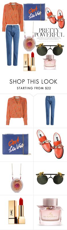 """red hot damn"" by jeonayla on Polyvore featuring Diane Von Furstenberg, Lizzie Fortunato, Yves Saint Laurent and Burberry"