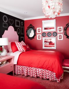 love the chalk wall and painted headboard. frames are nice too. Bedroom Red, Woman Bedroom, Girls Bedroom, Bedroom Decor, Bedroom Ideas, Childrens Bedroom, Budget Bedroom, Cozy Bedroom, Bedroom Inspiration