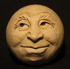 Man-in-the-Moon Garden Head Antique White/Eggshell Stone Art Painting, Vintage Moon, Perspective Art, Moon Illustration, Moon Garden, Art Courses, Hippie Art, Sculpture Clay, Polymer Clay Art