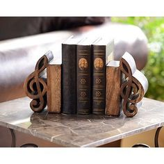 Music Notes Wood Bookend, Set of 2 | Kirkland's