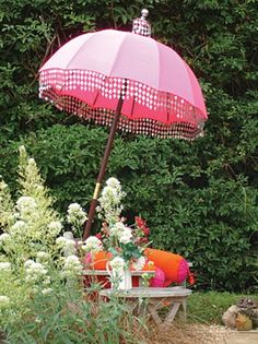 Whimsical garden w/ Indian sun parasol